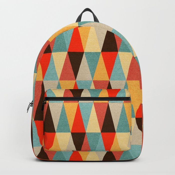 Red & Brown Geometric Triangle Pattern Backpack
