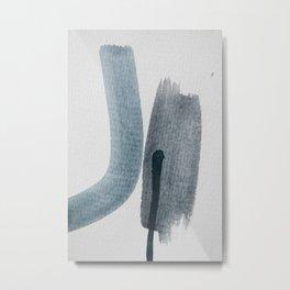 aquarelle meets pencil - blue and black Metal Print