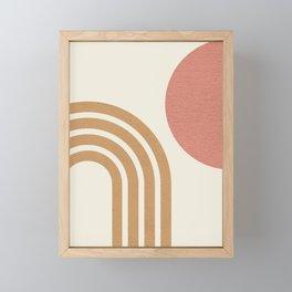 Mid century modern pink Sun & Rainbow Framed Mini Art Print