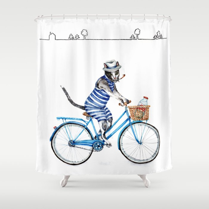Cat On A Blue Bicycle Shower Curtain By Evgeniya
