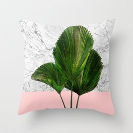 Palm Plant on Marble and Pastel Wall Throw Pillow