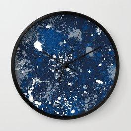 Blue Splatter Pattern Wall Clock