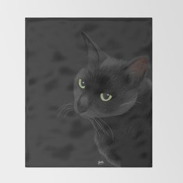 Black cat in the dark Throw Blanket