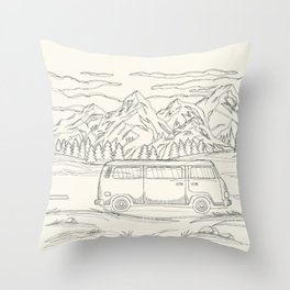 Mountain Road Linescape Throw Pillow