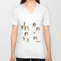 fight V-neck T-shirts featuring Fight! by Joe Lillington