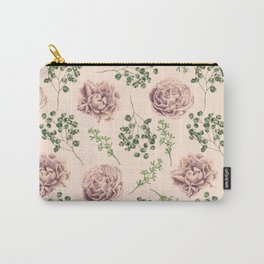 Rose Pattern Light Pink + Green Carry-All Pouch