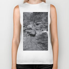 river in the forest with tree in black and white Biker Tank