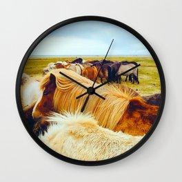Huddle of Horses Wall Clock
