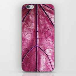 BURGUNDY PURPLE  ART LEATHERY TROPICAL LEAF iPhone Skin