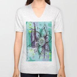 Teal Flower Unisex V-Neck