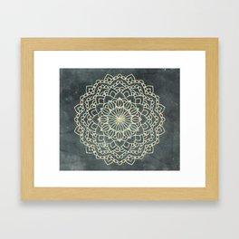 Sea Shimmer Mandala - Gold + Turquoise Framed Art Print