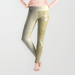 Paris France Minimal Street Map - Gold Foil Glitter Leggings