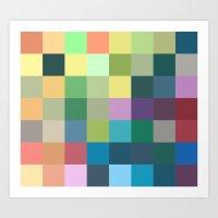 color squares geometry Art Print