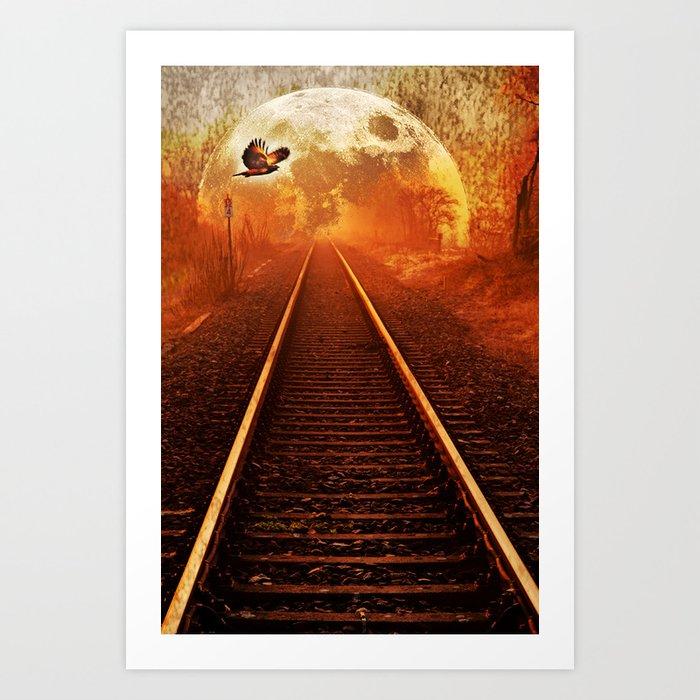 Railway to the moon Art Print