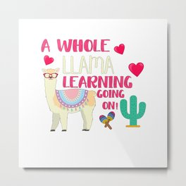 A Whole Llama Learning Going On Metal Print