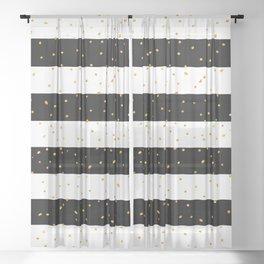 Black white gold faux glitter stripes polka dots Sheer Curtain