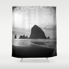 Haystack Rock in Black and White - Cannon Beach, Oregon Film Photo Shower Curtain