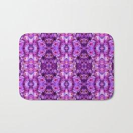 Violet Purple White Flower Pattern Bath Mat