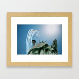 Jet Formation Over Statue of Liberty Framed Art Print