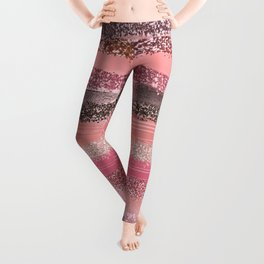 Girly Chic Pink Coral Paint Glitter Brushstrokes Leggings