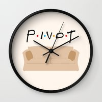 pivot Wall Clocks featuring Pivot - Friends Tribute by The LOL Shop