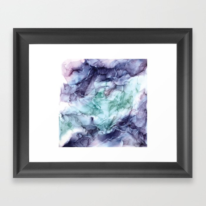 Growth- Abstract Botanical Fluid Art Painting Gerahmter Kunstdruck