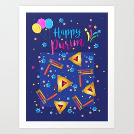 Happy Purim Festival Jewish Holiday Symbols Grogger, hamantaschen cookies, masque, confetti Illustration  Art Print
