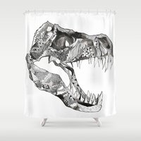 t rex Shower Curtains featuring T Rex by Cherry Virginia