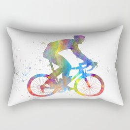 Cyclist competing in watercolor-19 Rectangular Pillow