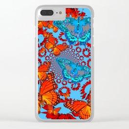 Blue & Orange Butterflies Abstract Pattern Art Clear iPhone Case