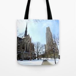Heinz Chapel and Cathedral of Learning in winter 29 Tote Bag