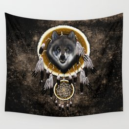 Indian Native Gray Wolf Dreamcatchers Wall Tapestry