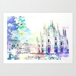 Milano, Piazza del Duomo Art Print