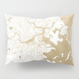 Boston White and Gold Map Pillow Sham