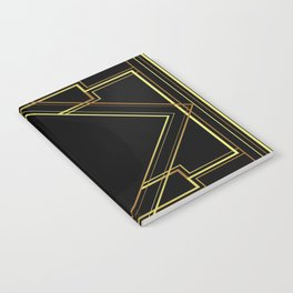 art deco gatsby black and gold lines geometric pattern Notebook
