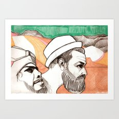 Two men and the mountains Art Print