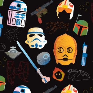repeating pattern with C3PO, R2-D2, light sabers and more