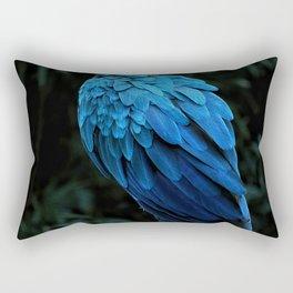 Brazilian Tropical Blue Macaw oil painting as known as Arara Azul. Rectangular Pillow