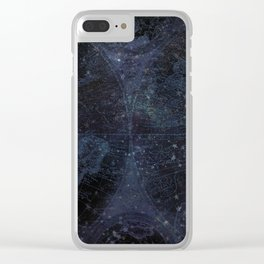 Antique World Star Map Navy Blue Clear iPhone Case