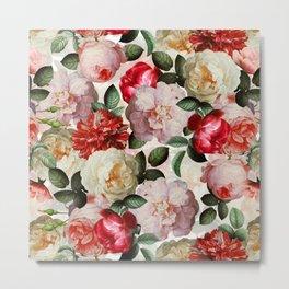 Antique Dutch Roses Pattern Metal Print