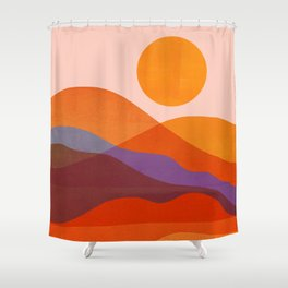 Abstraction_Mountains_SUN_Beautiful_Day_Minimalism_001 Shower Curtain