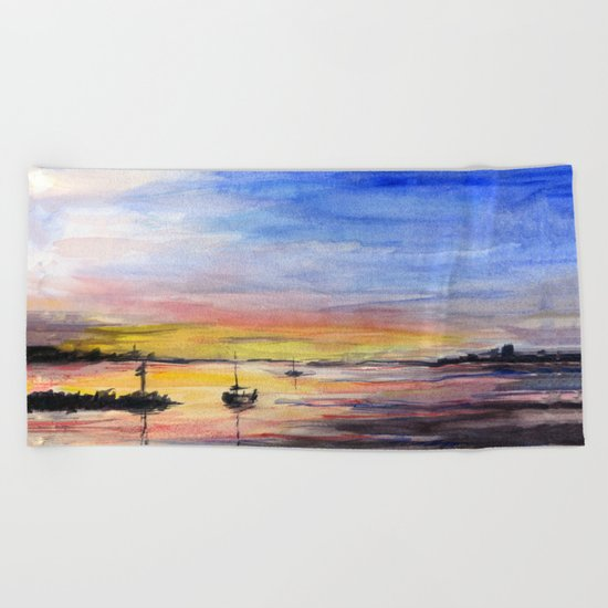 Sunset Watercolor Painting Landscape Art Beach Towel