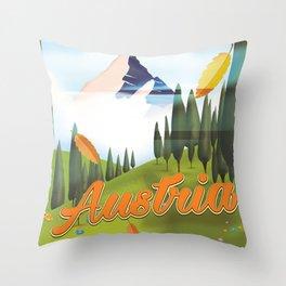 Austrian Landscape travel poster, Throw Pillow