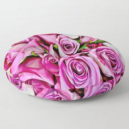 Pretty In Pink Roses Floor Pillow