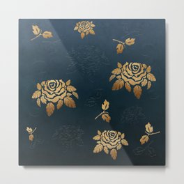Golden Rose - Glitter Pattern Metal Print