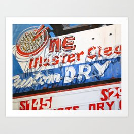 Retro Dry Cleaners Neon Sign Painting Art Print