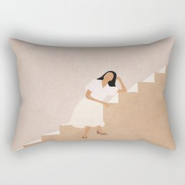 Girl Thinking on a Stairway Rectangular Pillow