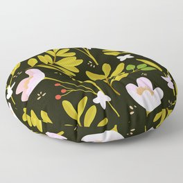 Modern Trendy Pink Floral And Contemporary Leaf Pattern Floor Pillow