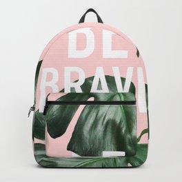 Modern white be brave motivation typography green monstera leaf Backpack