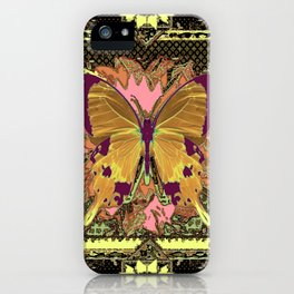 Ornate Mauve Swallow Tailed Butterfly Yellow-Khaki Design iPhone Case
